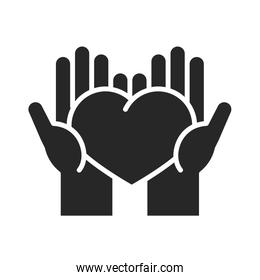 donation charity volunteer help social hands with heart love silhouette style icon
