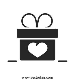 donation charity volunteer help social gift box heart silhouette style icon