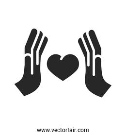 donation charity volunteer help social protection hands heart silhouette style icon