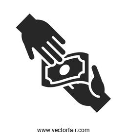 donation charity volunteer help social hand giving money silhouette style icon