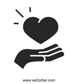 donation charity volunteer help social heart in hand silhouette style icon