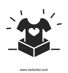 donation charity volunteer help social shirt heart in box silhouette style icon