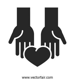 donation charity volunteer help social heart in hands silhouette style icon