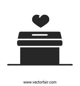 donation charity volunteer help social heart cardboard box silhouette style icon