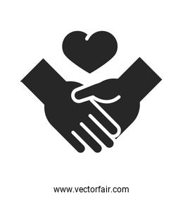 donation charity volunteer help social handshake heart love silhouette style icon