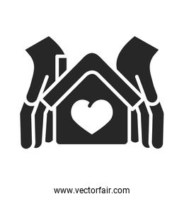 donation charity volunteer help social hands protection house love silhouette style icon