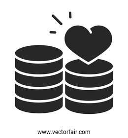 donation charity volunteer help social stack of coins money love silhouette style icon