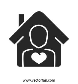 donation charity volunteer help social person house love silhouette style icon
