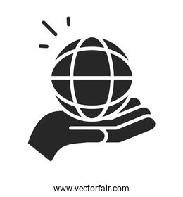 donation charity volunteer help social hand holding world silhouette style icon