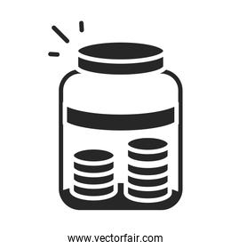 donation charity volunteer help social money coins in glass jar silhouette style icon