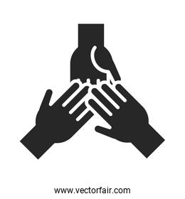 donation charity volunteer help social hands together community support silhouette style icon