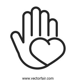 donation charity volunteer help social hand with heart love line style icon