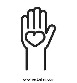 donation charity volunteer help social hand with heart in palm line style icon