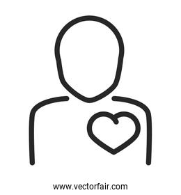donation charity volunteer help social avatar heart in chest line style icon