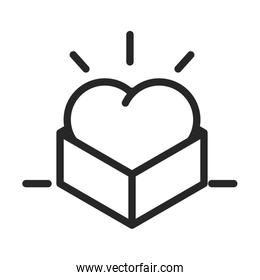 donation charity volunteer help social heart in cardboard box line style icon