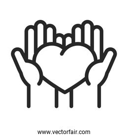 donation charity volunteer help social hands with heart love line style icon