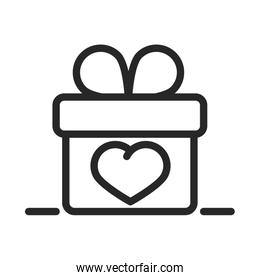 donation charity volunteer help social gift box heart line style icon
