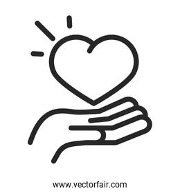 donation charity volunteer help social heart in hand line style icon