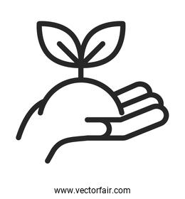 donation charity volunteer help social hand holding plant line style icon