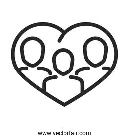 donation charity volunteer help social people in heart community line style icon
