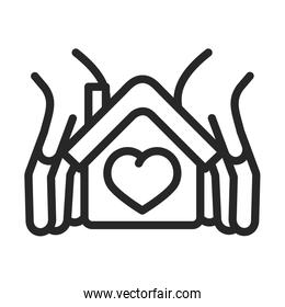 donation charity volunteer help social hands protection house love line style icon