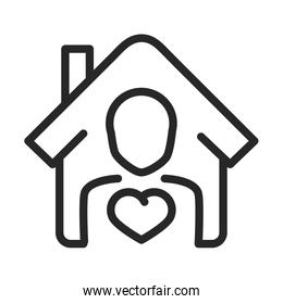 donation charity volunteer help social person house love line style icon