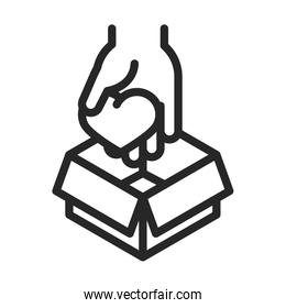 donation charity volunteer help social hand with heart in box line style icon