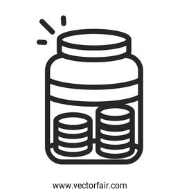 donation charity volunteer help social money coins in glass jar line style icon
