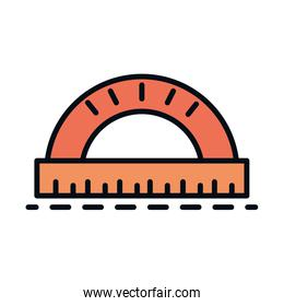 math education school science protractor geometry line and fill style icon