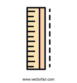 math education school science tool measure ruler geometry line and fill style icon