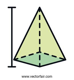 math education school science pyramid figure geometry line and fill style icon