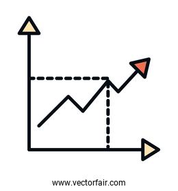 math education school science diagram arrow profit line and fill style icon
