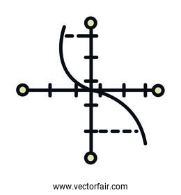 math education school science cartesian graph line and fill style icon