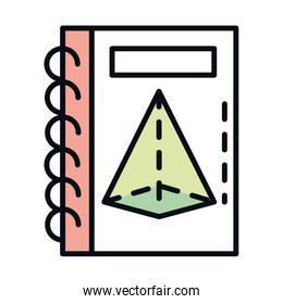 math education school science book information geometric line and fill style icon