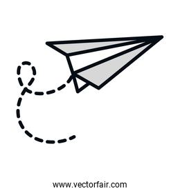 math education school science paper plane line and fill style icon