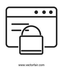 cyber security and information or network protection website padlock line style icon