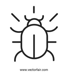 cyber security and information or network protection bug virus line style icon