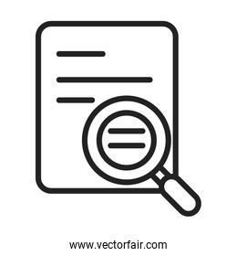 cyber security and information or network protection data magnifier analysis line style icon