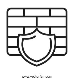 cyber security and information or network protection firewall shield line style icon