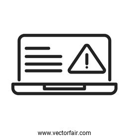 cyber security and information or network protection laptop warning caution line style icon