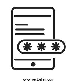 cyber security and information or network protection smartphone login password line style icon