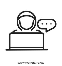 cyber security and information or network protection hacker with laptop line style icon