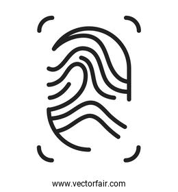 cyber security and information or network protection fingerprint line style icon