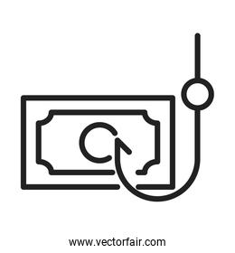 cyber security and information or network protection money phishing attack line style icon