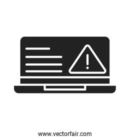 cyber security and information or network protection laptop warning caution silhouette style icon