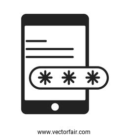 cyber security and information or network protection smartphone login password silhouette style icon