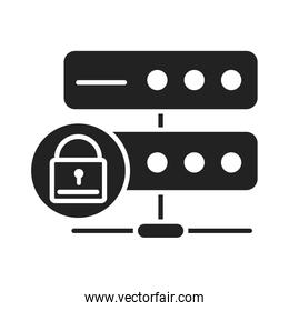 cyber security and information or network protection database server technology silhouette style icon