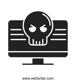 cyber security and information or network protection computer danger problem silhouette style icon