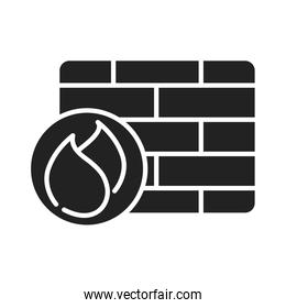 cyber security and information or network protection firewall system silhouette style icon