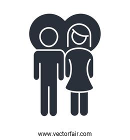 parents couple in love heart family day, icon in silhouette style